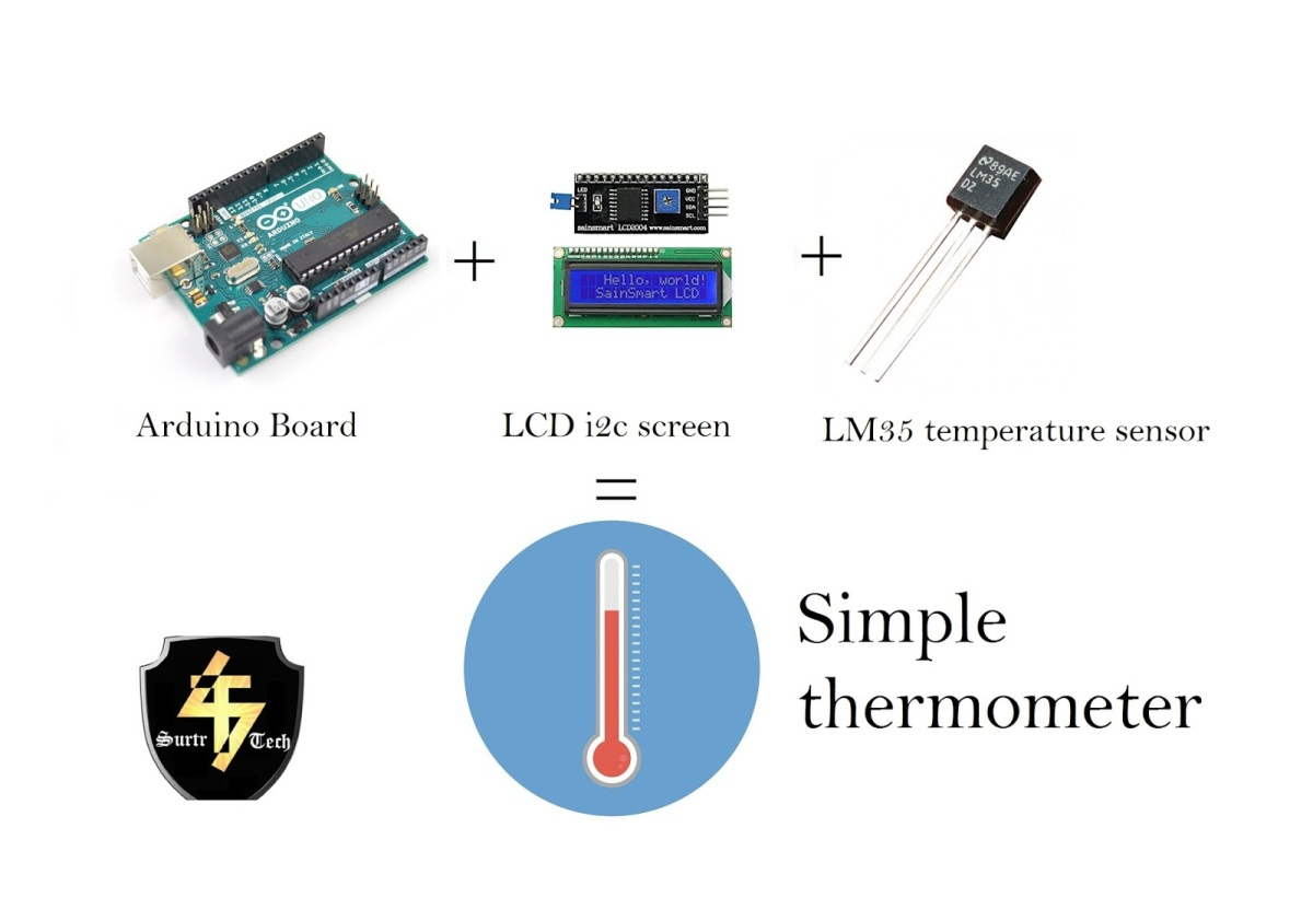 Simplest Arduino Based Thermometer Using Lm35 And Lcd I2c Screen Electronic Circuit Surtr Technology