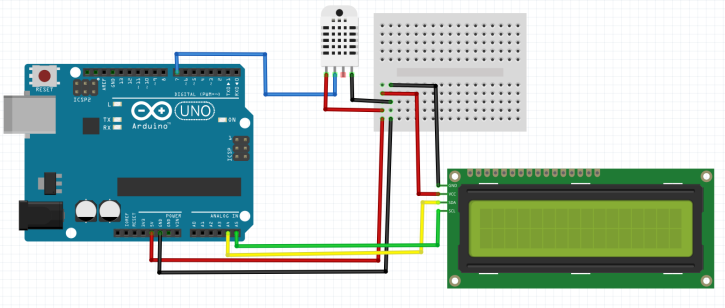 Measure temperature/humidity using DHT22 + LCD i2c + Arduino