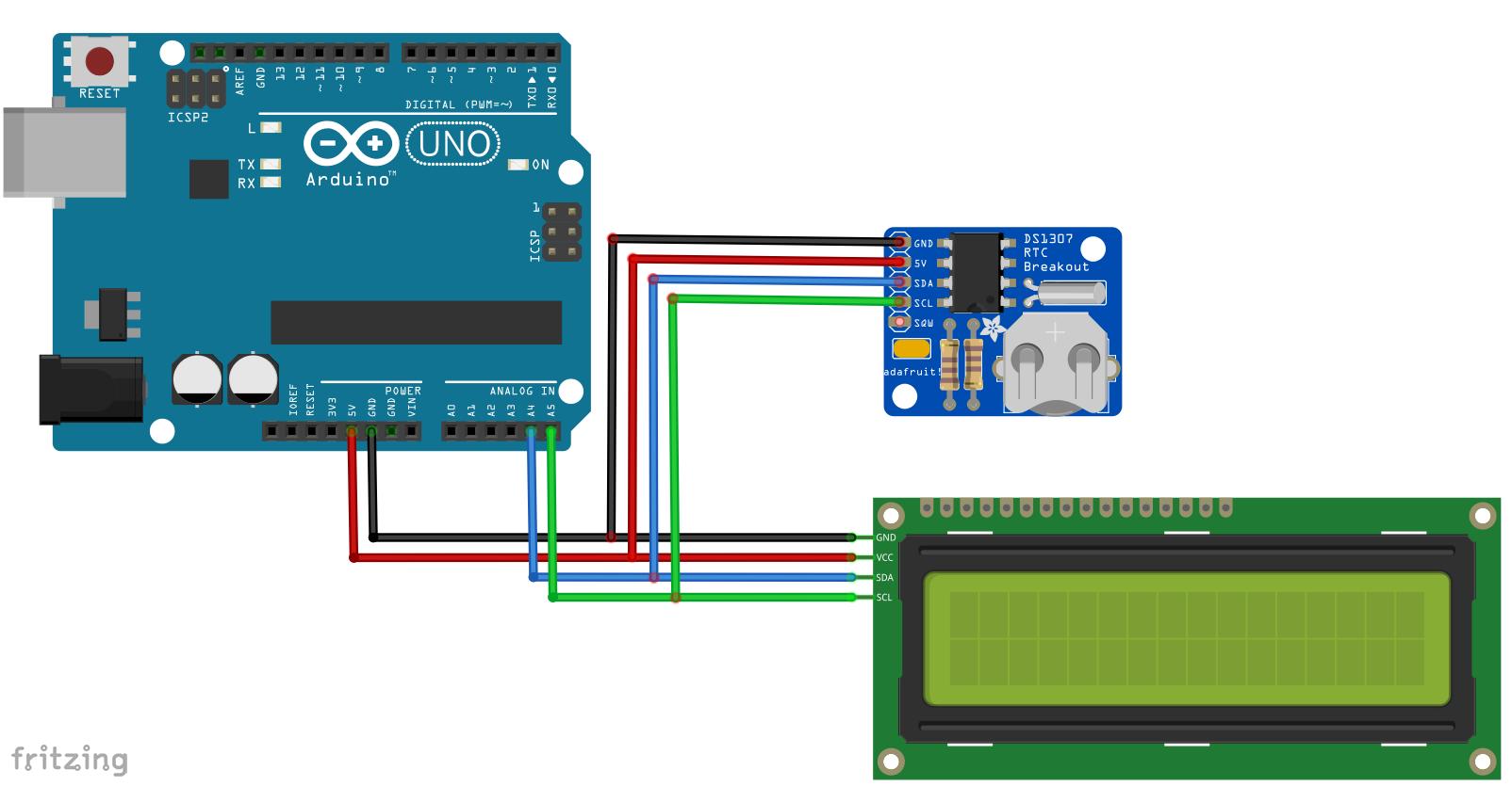 Arduino alarmclock i2c lcd rotary encoder buzzer real time clock